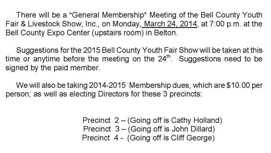 GEN  MEMBERSHIP MEETING LETTER