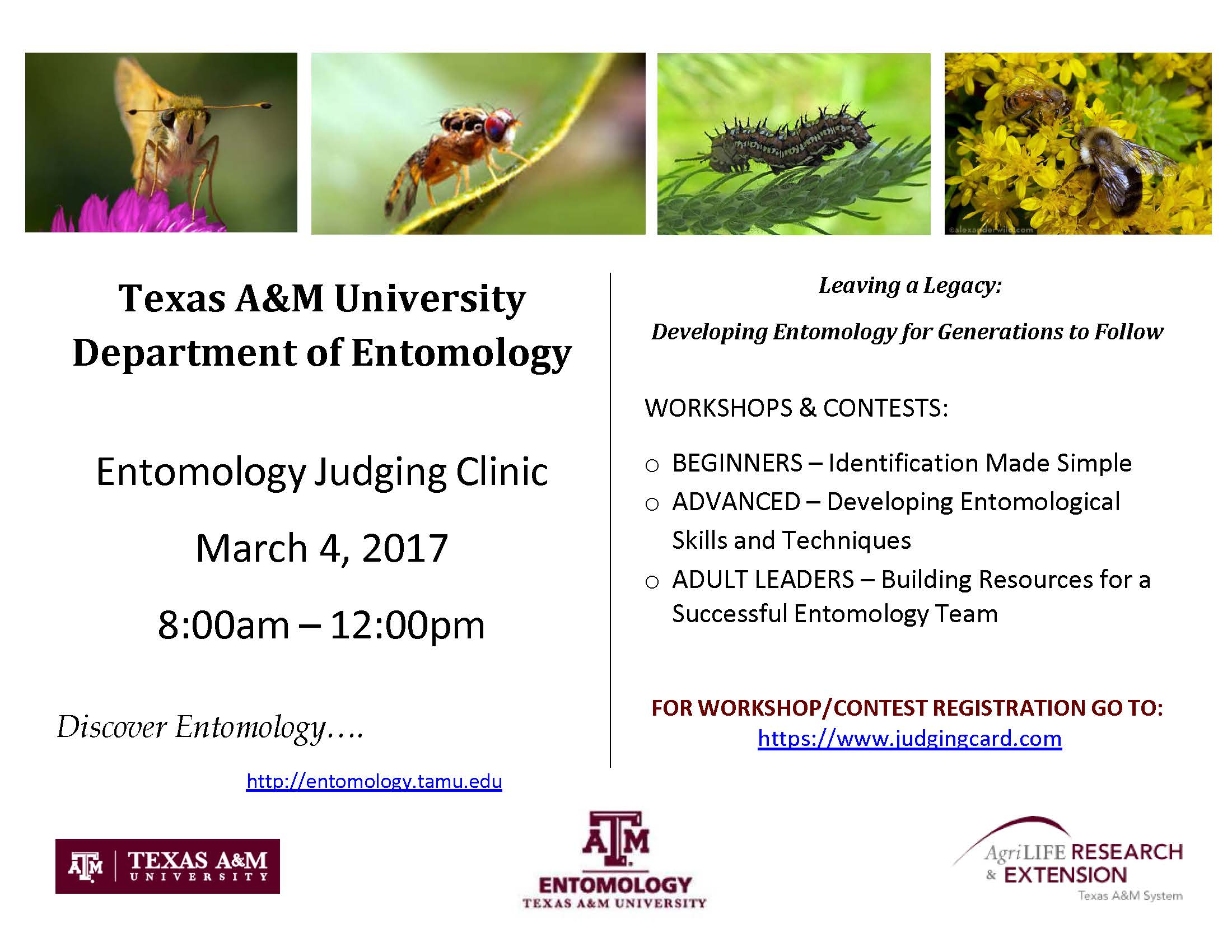 Texas A&M University Department of Entomology is offering a clinic on March 4 rom 8am-12pm - Come check it out!