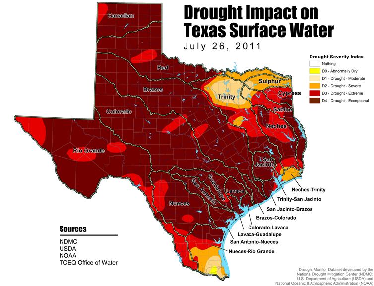 Drought Map for Texas July 26 2011
