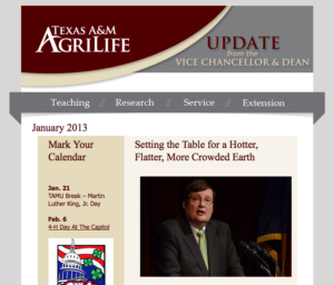 January 2013 Vice Chancellor's Update