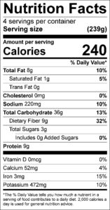 Black Bean & Rice Salad Nutrition Facts Serving size (239g) servings per container 4 Amount per serving Calories 240 % Daily Value Total Fat 8 g 10 % Saturated Fat 1 g 5 % Trans Fat 0 g Cholesterol 0 mg 0 % Sodium 220 mg 10 % Total Carbohydrate 36 g 13 % Dietary Fiber 9 g 32 % Total Sugars 3 g Added Sugars 0 g 0 % Protein 9 g Vitamin D 0 mcg 0 % Calcium 52 mg 4 % Iron 3 mg 15 % Potassium 472 mg 10 %