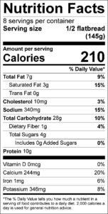 Easy Flatbread Pizza Nutrition Facts Serving size 1/2 flatbread (145g) servings per container 8 Amount per serving Calories 210 % Daily Value Total Fat 7 g 9 % Saturated Fat 3 g 15 % Trans Fat 0 g Cholesterol 10 mg 3 % Sodium 340 mg 15 % Total Carbohydrate 28 g 10 % Dietary Fiber 1 g 4 % Total Sugars 4 g Added Sugars 0 g 0 % Protein 10 g Vitamin D 0 mcg 0 % Calcium 244 mg 20 % Iron 1 mg 6 % Potassium 346 mg 8 %