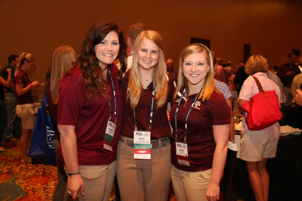 Madalynn Kainer, Micki Gooch, and Baylee Bessire, student workers at SMA Convention
