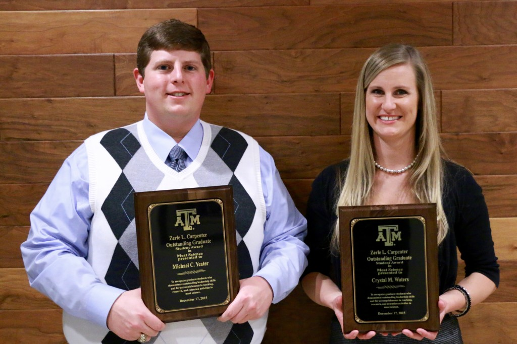 Michael Yeater and Crystal Waters, Carpenter Award winners