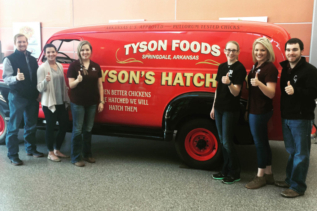 Wade Hanson, Hillary Martinez, Kayley Wall, Courtney Boykin, Spencer Tindel, and Drew Cassens at Tyson Foods Beyond Fresh Meat short course