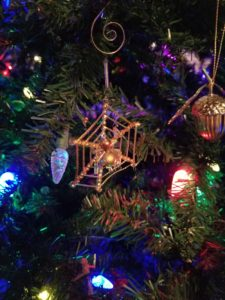 Christmas spider ornament on tree